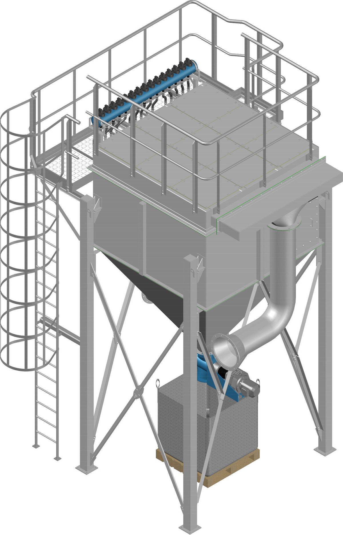 High efficiency flue gas filter plant module