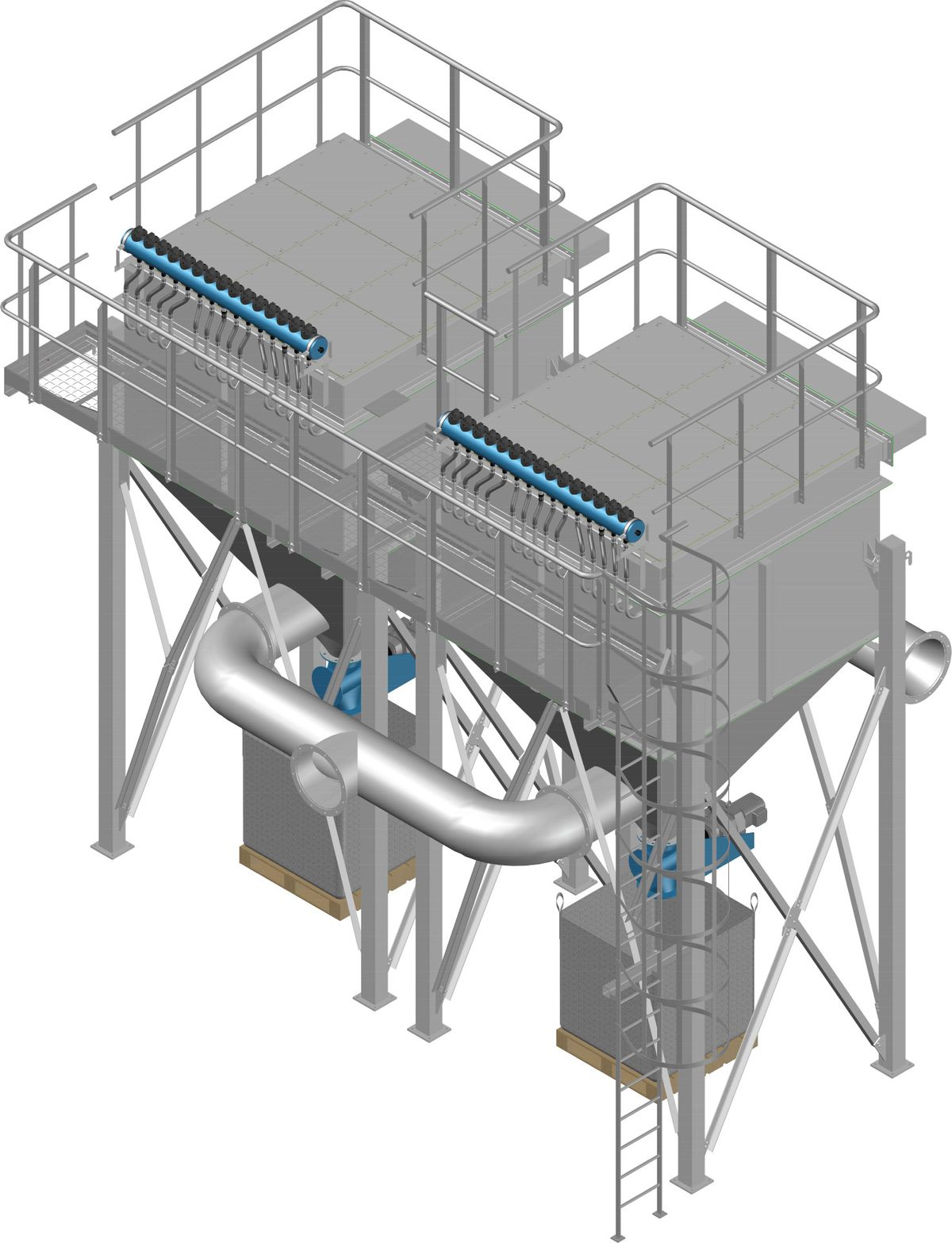 High efficiency flue gas filter plant 2-stage module