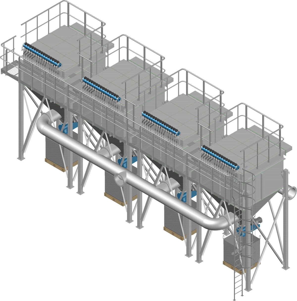 High efficiency flue gas filter plant 4-stage module